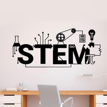 Science Stem Logo Wall Stickers Creative Style Vinyl Decal Technology Pattern Wall Poster School Classroom Decoration
