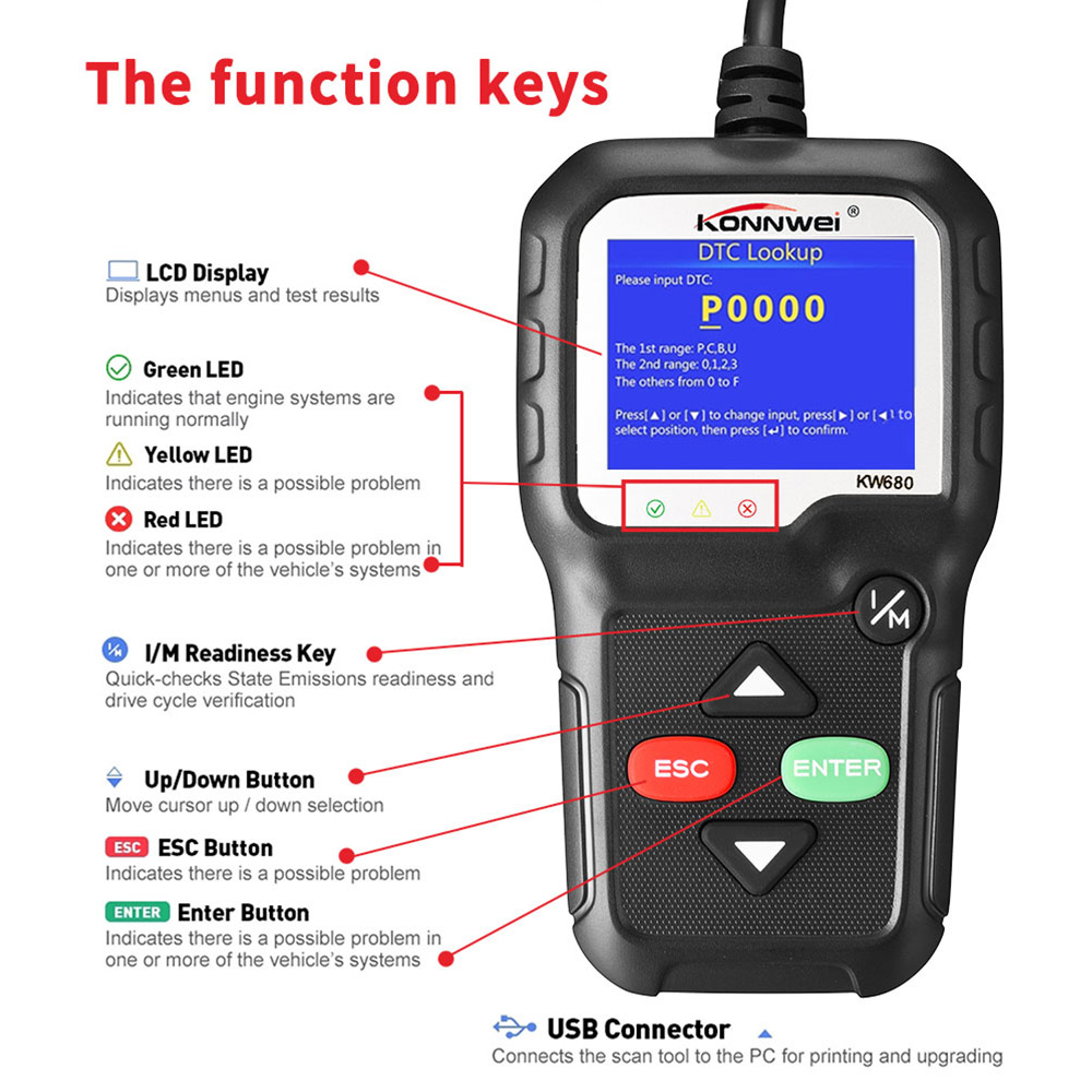 Vehemo TFT Color Screen OBD2 Car Diagnostic <font><b>Scanner</b></font> Check Engine Auto Battery Check for <font><b>KONNWEI</b></font> <font><b>KW680</b></font> Diagnostics Tool image