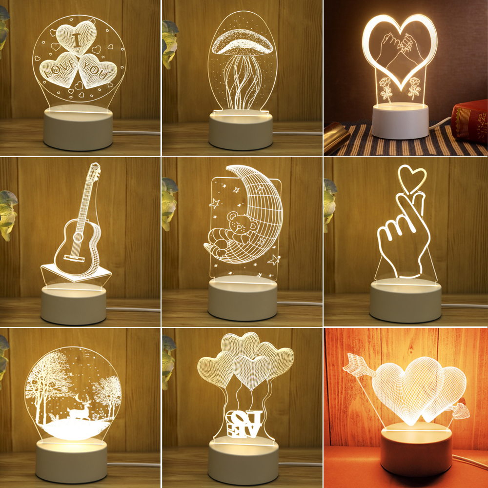 새로운 아크릴 네온 불빛 3d 스테레오 야간 조명 작은 테이블 램프 머리맡 램프 led 램프 생일 축제 어린이 장식
