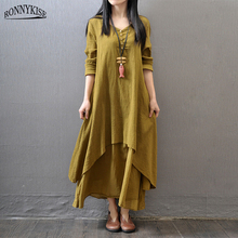 RONNYKISE Women's Fashion Cotton and Linen Long Dress Double Layer Solid Color Short Sleeve Irregular Loose Dress Summer Dress цена