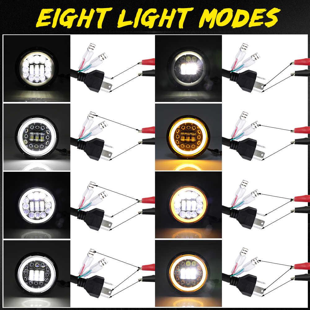 """Светодиодный светильник CO 7 дюймов, Точечный светильник 180 Вт дальнего и ближнего света E9 7 """", светодиодный ДХО, кольцевой Янтарный поворотный сигнальная фара для Lada 4x4 Niva Urban"""