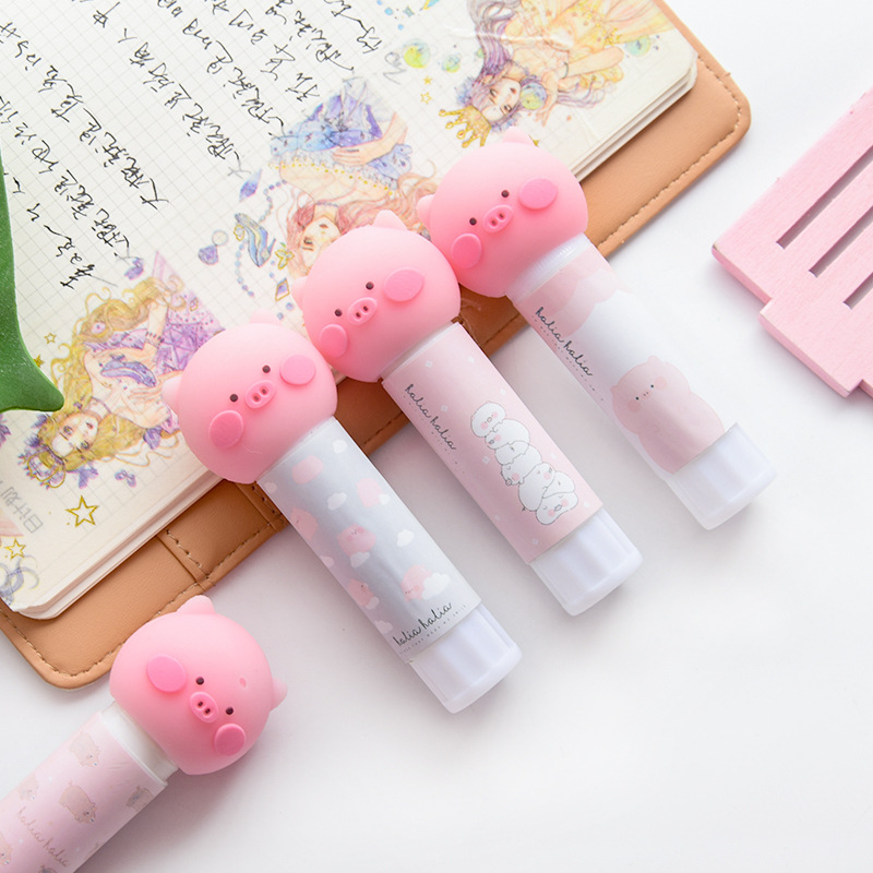 Cute Pig Shape Solid Glue Stick Strong Adhesives Glue Stick For Student Stationery Solid Glue High Viscosity School Supplies