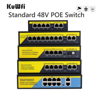 Przełącznik sieciowy 48V POE 10 100 1000 mb s włącznik Ethernet 4 porty 8 portów przełącznik sieciowy ing Hub IEEE 802 3 AF AT przełącznik do kamery IP tanie i dobre opinie KuWFi NONE CN (pochodzenie) 10 100 mbps Szybki switch Full-duplex half-duplex