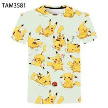 Japanese Anime Pikachu 3D Printing Boys And Girls Summer Fashion Short Sleeve T-Shirt Baby Cute Cool Street Top Wholesale