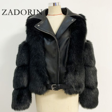 Zadorin Top Fashion Luxe Faux Vos Bontjas Motorfiets Pu Leather Turn Down Kraag Warme Faux Fur Jas Vrouwen 2020 winter Nieuwe