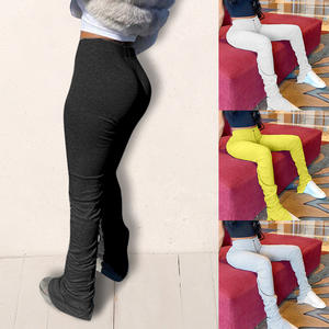 Pant Pencil-Leggings Stacked Joggers Biker-Trousers Sportwear Pleated-Flare High-Waist