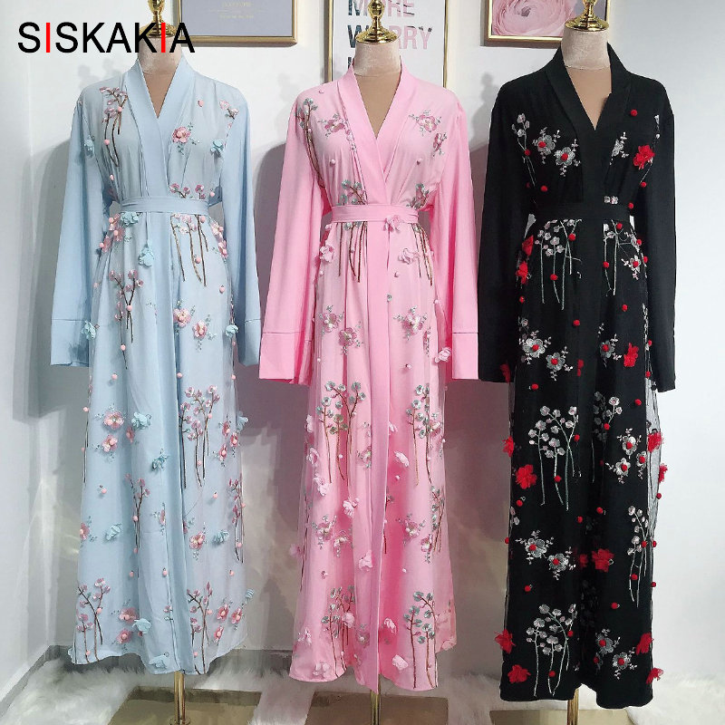 Siskakia 3D Flower Embroidery Abaya Dress Middle East Turkish Dubai Fashion Jubah & Kimonos Sweet Pink Blue Muslim Arabian Wears
