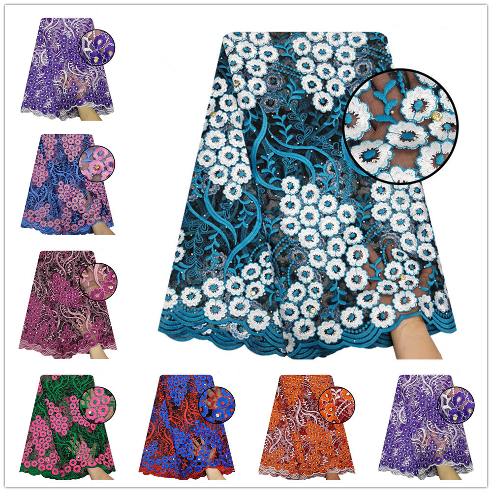 5yards Brand New Stones Lace Fabric Tulle Embroidered Women Dress Lace Fabric Africa Flower Embroidery Apparel Sewing Material