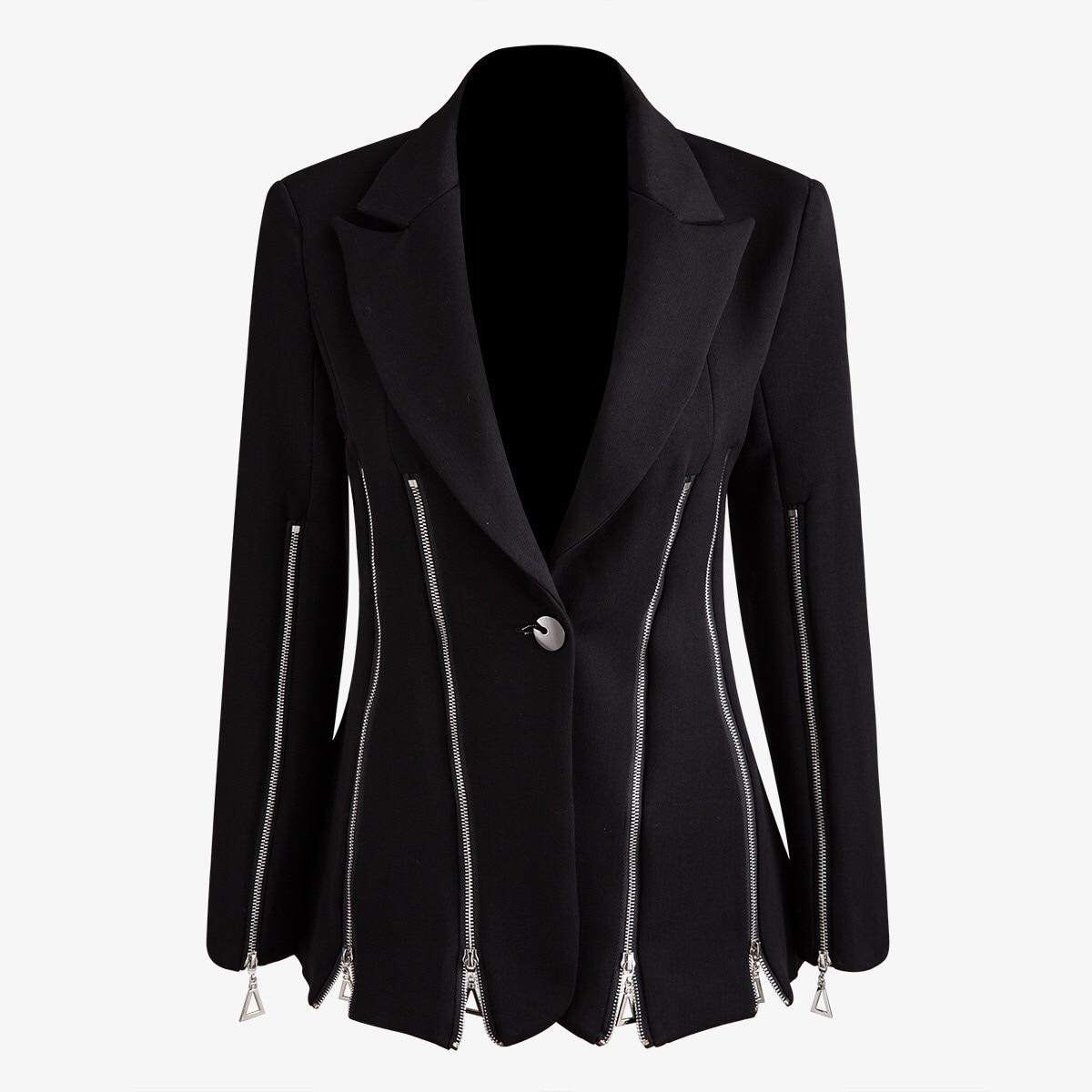 Multi Zipper Heavy Industry Women Black Blazer Notched Collar Long Sleeve Slim OL Style Female Blazers