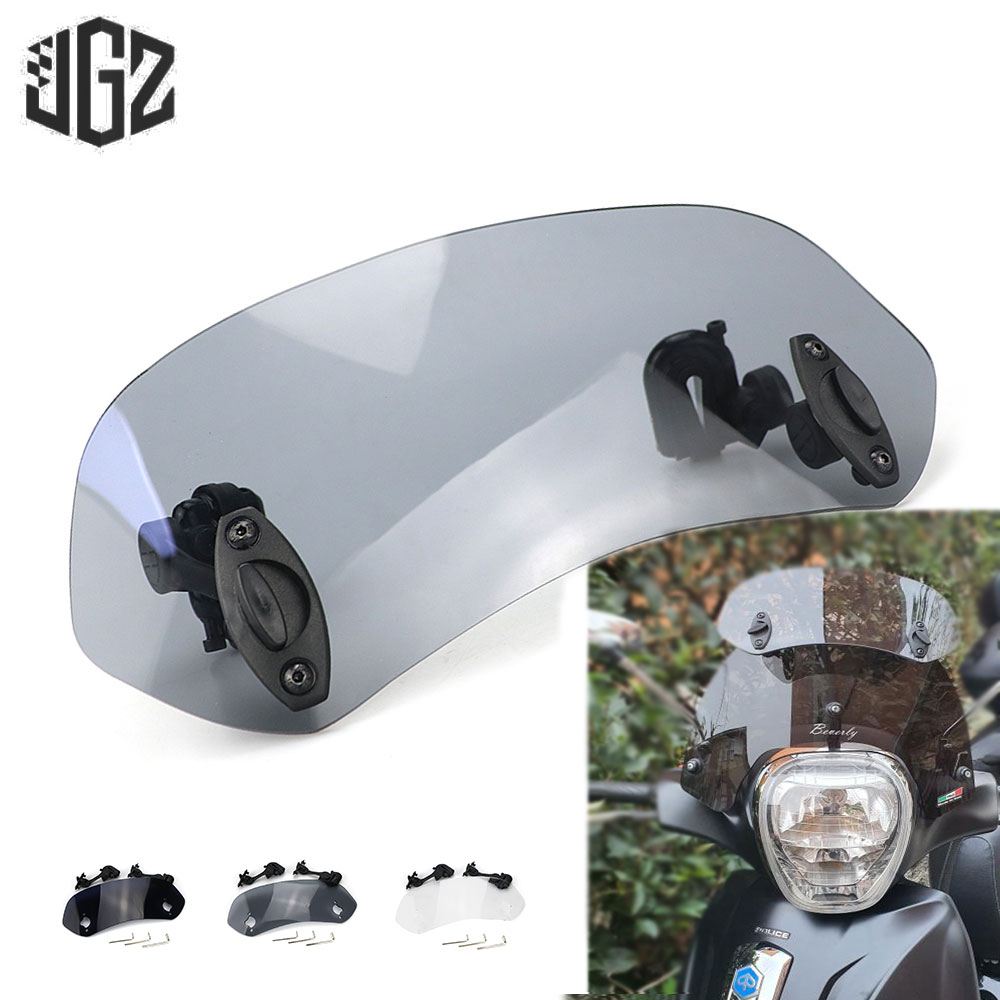 Motorcycle Adjustable Acrylic Extension Windshield Clamp-On Windscreen For Piaggio Beverly 350 300 MP3 500 Zip Liberty 50 125