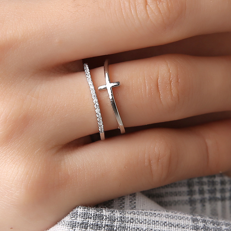 New Minimalist Rose Gold Cross Ring Simple Multi Layer Open Adjustable Rings for Women Christian Gift Knuckle Jewelry 2019