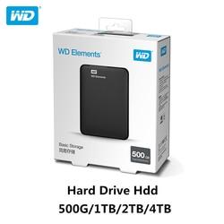 ¡Original! Disco duro Western Digital WD Elements HDD 2,5 500GB 1TB 2TB 4TB HDD USB 3,0 disco duro externo portátil