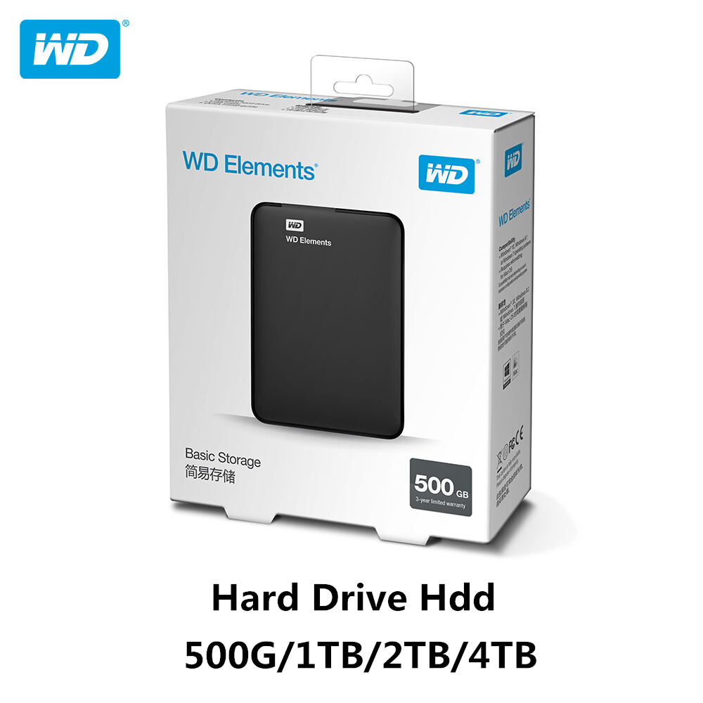 "Original!!! Western Digital WD Elements Hard Drive Hard Disk HDD 2.5"" 500GB 1TB 2TB 4TB HDD USB 3.0 Portable External Hard Disk"
