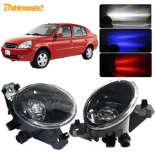 Buildreamen2 para nissan platina 2002-2010 4000lm carro led lente luz de nevoeiro lâmpada h11 com diabo olho drl função 12v acessórios