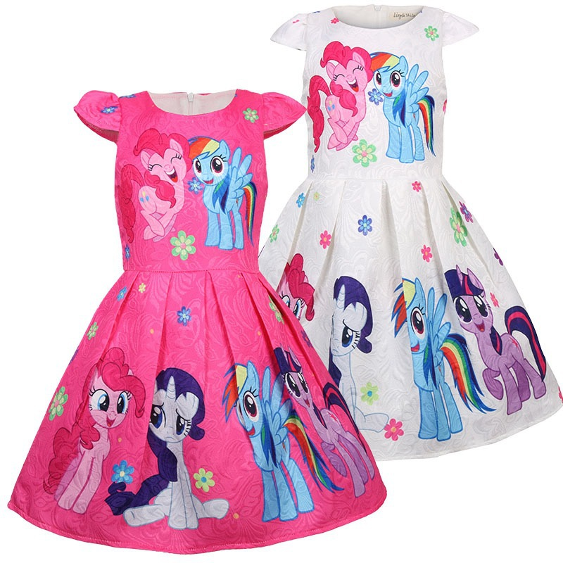 Новинка 2019, детское платье без рукавов с надписью «My little Girls», летнее платье с единорогом пони, хлопковые Повседневные платья «Snow Queen», детска...
