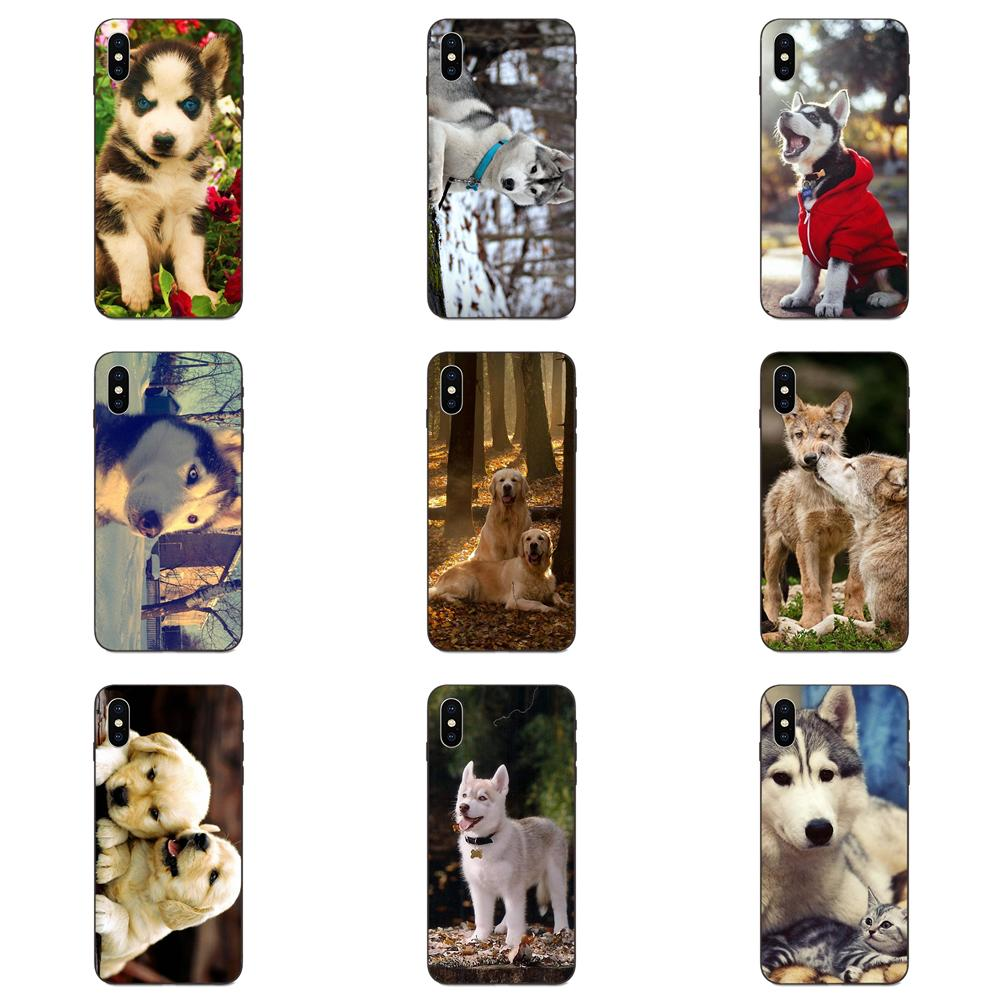 For Apple iPhone 4 4S 5 5S SE 6 6S 7 8 Plus X XS Max XR Soft TPU Phone Capa <font><b>Siberian</b></font> <font><b>Husky</b></font> With Wood image