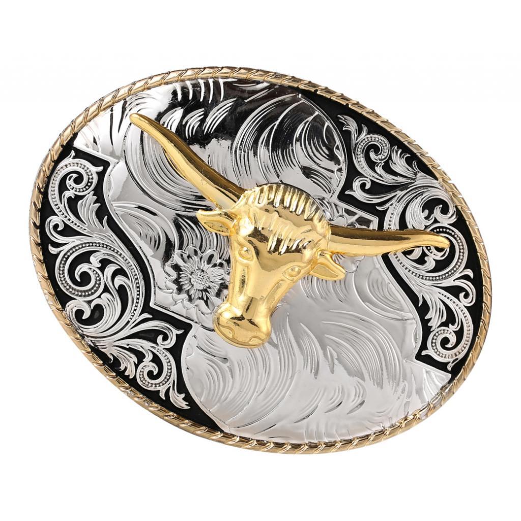 Fashion Western Belt Buckles Engraved Gold Horn Bull OX Head Rodeo Cowboy