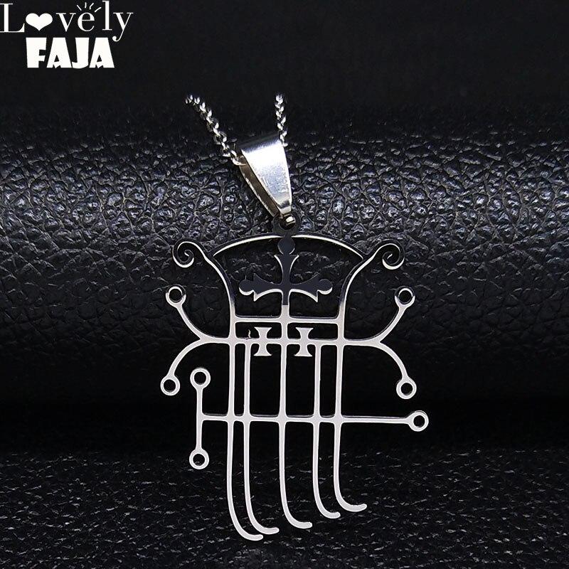 Цепочка Из Нержавеющей Стали с символикой сатаны демона, ожерелье для женщин и мужчин, серебряное ожерелье, ювелирные изделия из нержавеюще...