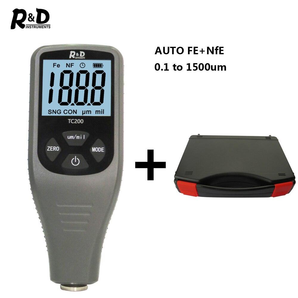 R&D TC200+Case Coating Thickness Gauge 0.1um/0-1500 Car Paint Film Thickness Tester  FE/NFE Russian Manual Car Body Repair Grey