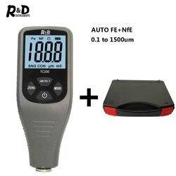 R & D TC200 + Case miernik grubości lakieru 0. 1um/0 1500 lakier samochodowy tester grubości FE/NFE rosyjski instrukcja karoseria naprawa szary w Mierniki ultradźwiękowe od Narzędzia na