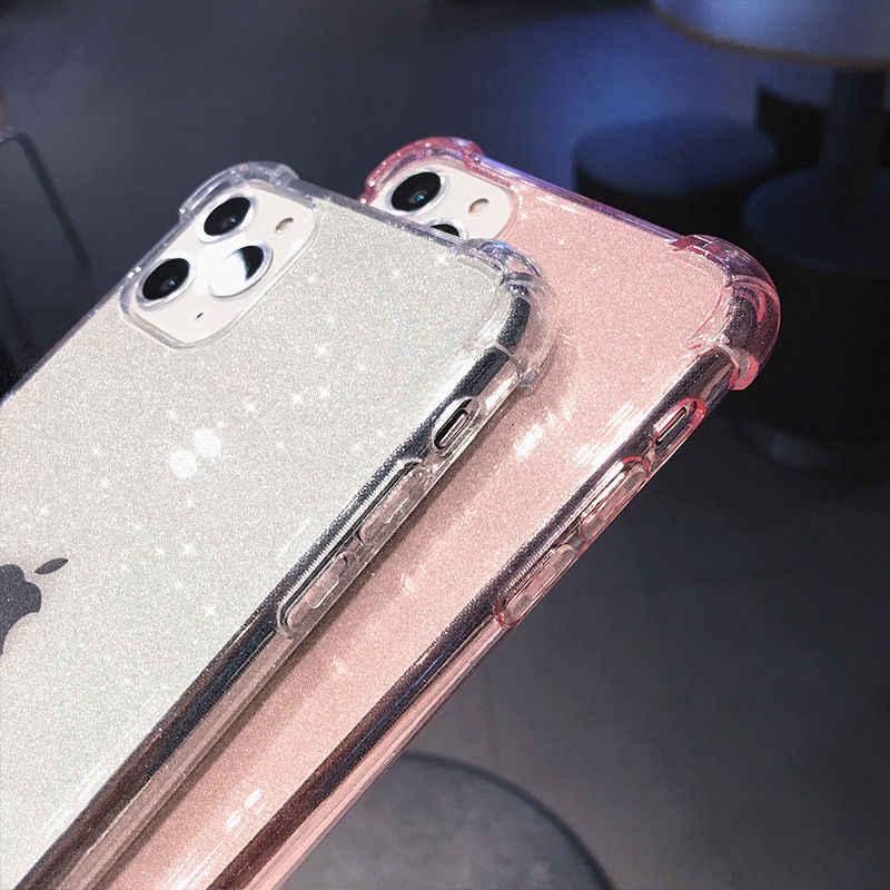 Anti-Knock Bersinar Glitter Bubuk untuk iPhone 11 11Pro Max X XR X MAX 8 7 6 6S PLUS Transparan Lembut TPU Penutup Belakang