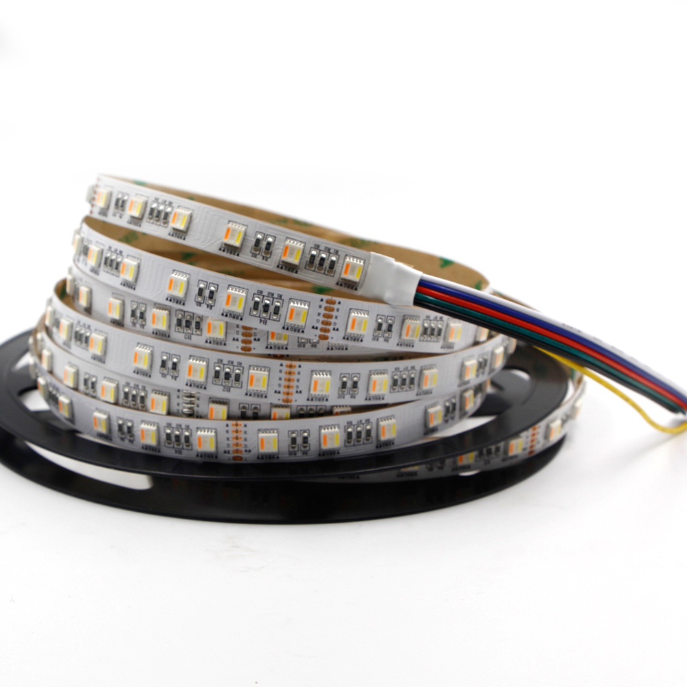 RGB CCT LED Strip 5050 DC 12V 24V 4in1 5Colors 5 in1 Chips RGB+WW+CW 60 LEDs/m 5m/lot RGBW RGBWW 12mm PCB LED Strip Light image