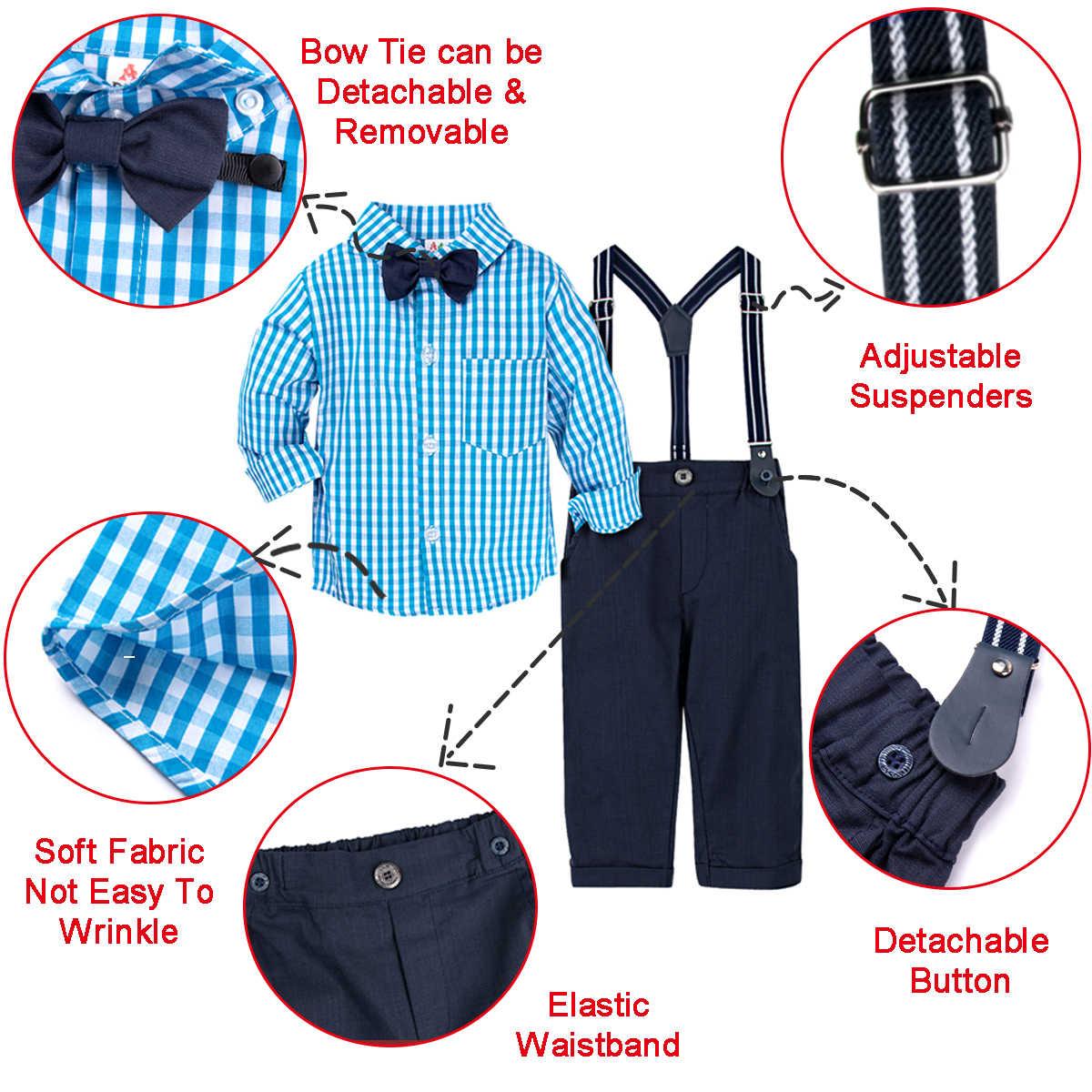 طفل الزفاف لطيف الزي الرضع Gentleman الملابس الرسمية مجموعة طفل هدية عيد ميلاد دعوى قميص السراويل وزرة