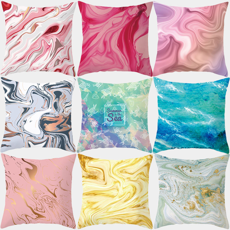 Rose Gold Cushion Cover 45x45 Pillow Covers Decorative Sofa Cases Polyester 18x18 Throw Pillows Swirl Pillowcases