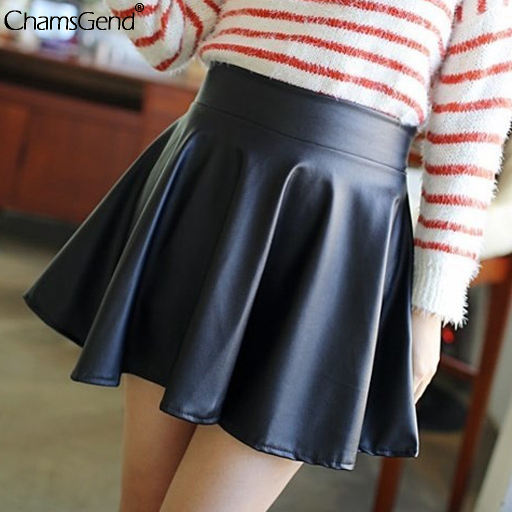 Short Skirt Sexy Womens Faldas Girl Micro Mini High-Waist Ladies Clubwear Moda Pu Pleated
