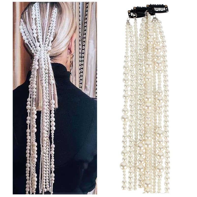 Beni bul İmitasyon İnci saç zinciri 2020 yeni moda saç takı uzun alaşım zincirleri kadınlar için abartılı şapkalar aksesuarları