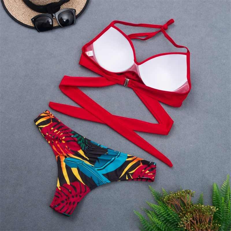 Melphieer Bungkus Cross Perban Bikini Set Merah Hitam Baju Renang 2020 Anak Perempuan Biquini Pinggang Tinggi Pakaian Renang Pakaian Maillot De Bain