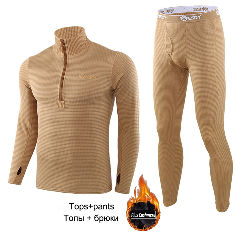 New Men's Fleece Lined Thermal Underwear Set Motorcycle Skiing Base Layer Winter Warm Long Johns Shirts & Tops Bottom Suit