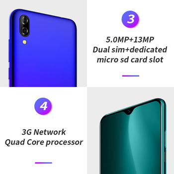 Blackview A60 2GB+16GB 4080mAh Smartphone Android 10.0 Quad Core 6.1'' 19.2:9 Waterdrop Screen 3G Mobile Phone 4