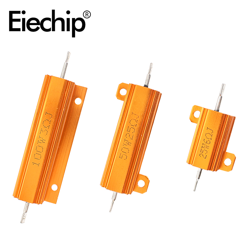 2 pçs resistor de carga 50w caso escudo de metal potência resistor wirewound decodificador led 6ohm 8ohm 10ohm 12ohm para luz de sinal de volta de freio