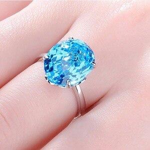 Image 5 - Женское серебряное кольцо с голубым топазом 12*16 мм, кольцо с аквамариновым драгоценным камнем, ювелирное изделие из цельного натурального серебра с драгоценным камнем, ювелирные украшения для помолвки