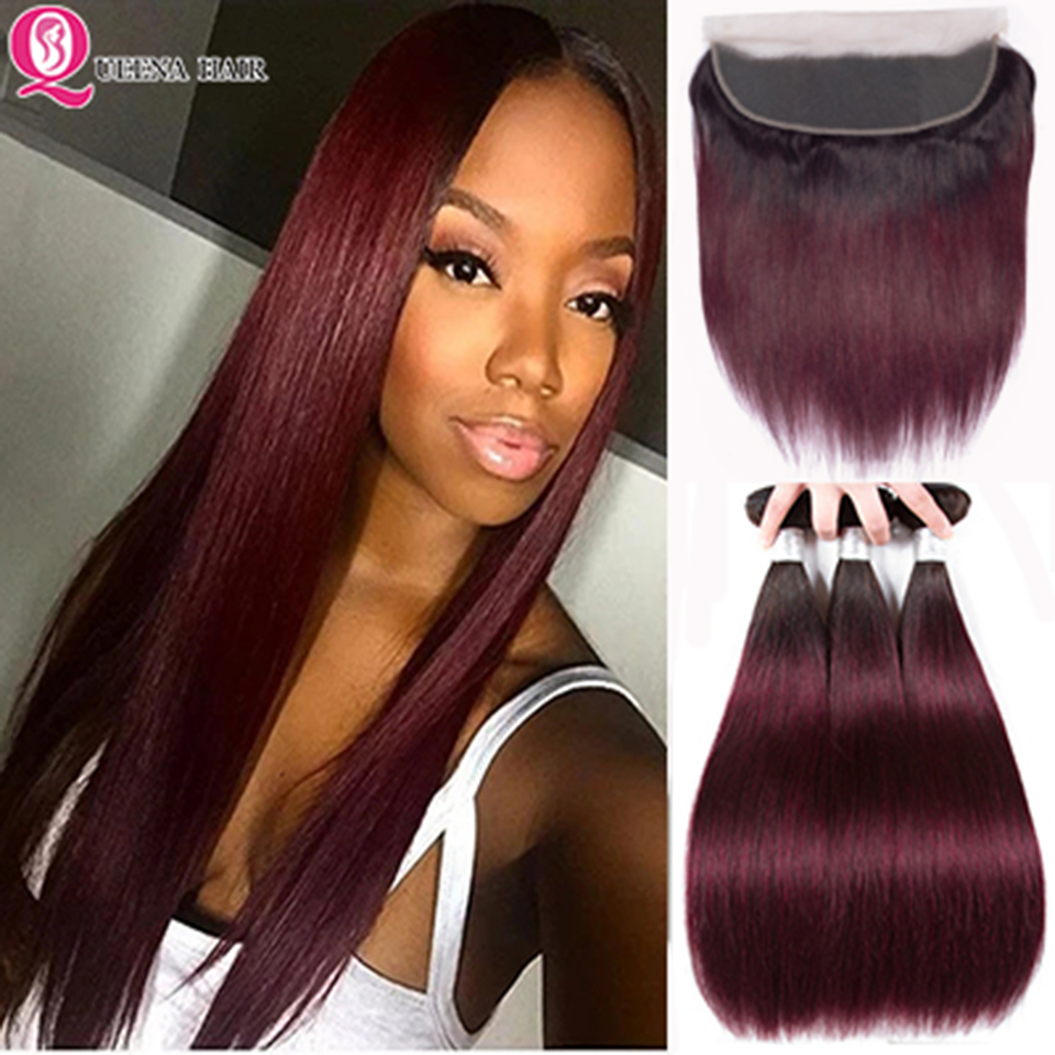 Ombre 1B/99J Bundles With Frontal Closure1B 99j Two Tone Dark Wine Red Peruvian Straight Human Hair Bundles With Frontal Remy