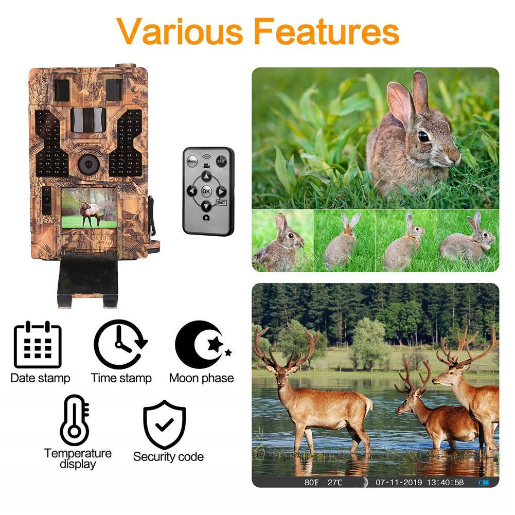 Trail Camera Waterproof 20MP 1080P Game Camera Night Vision Motion 3PIR 42IR LEDs Wildlife Cams Monitoring Home Security image