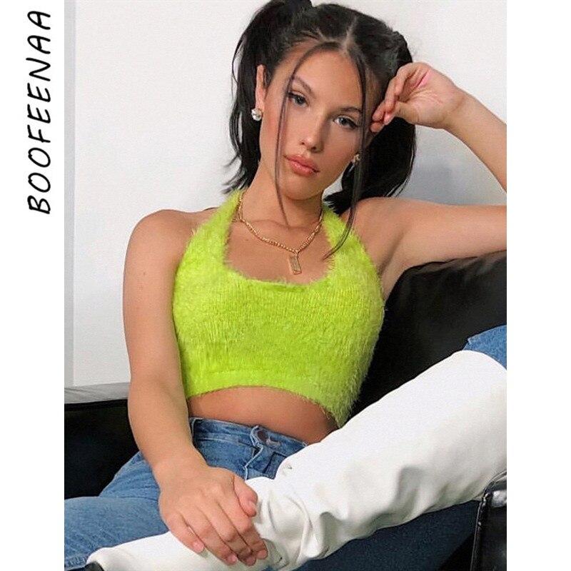 BOOFEENAA Neon Green Fuzzy Open Back Halter Crop Top Women Clothes Rave Festival Club Wear Summer Bustie Tank Tops C67-G83