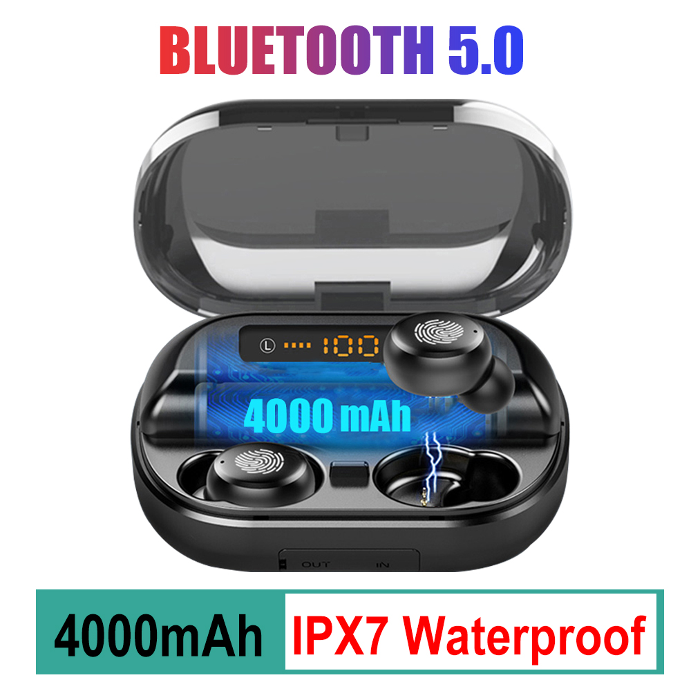 TWS V11 Bluetooth 5.0 Headphone LED Display Wireless Sports Earphone 9D Stereo IPX7 Waterproof Earbuds With 4000mAh Charing Case