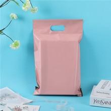 50 unids/pack de mensajería embalaje bolsa de polietileno dentro negro fuera mango rosa bolsa opaco impermeable bolsas 14 cables sobre Postal