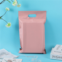 50Pcs/Pack Mailing Courier Packing Poly Bag Inside black Outside Pink Handle Bag Opaque Waterproof Bags 14 Wires Envelope Postal
