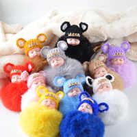 Super słodki śpiąca lalka głowa hairball brelok brelok z futrzaną kulką biżuteria do torebki akcesoria prezent dla kobiety