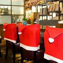 1PC Christmas Hat Chair Back Cover Decoration For Home Christmas Party Holiday Dinner Table Santa Claus Red Chair Hat Cover Deco(China)