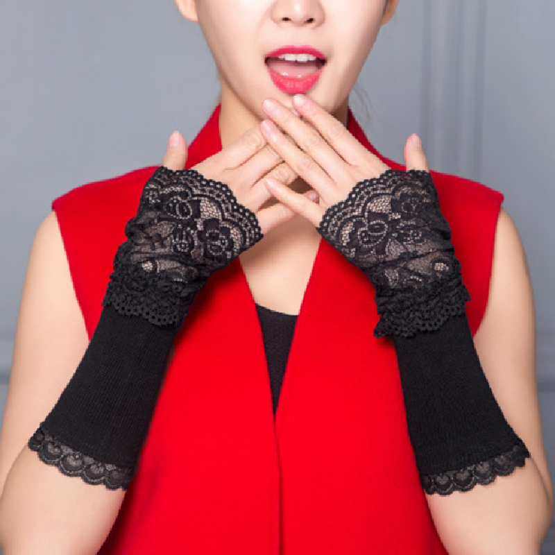 1 Pair Winter Warm Lace Hand Black Cotton Fingerless Long Gloves For Women Fashion Ladies Warmer Arm Sleeve Accessories