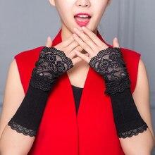 1 пара, зимние теплые кружевные черные хлопковые длинные перчатки без пальцев для женщин, модные женские теплые перчатки, аксессуары для рук