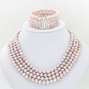 Image 4 - Hot new fashion style Noblest 4rows 6 7mm black pearl shell necklace bracelet earring sets Jewelry sets Mothers Day gifts W0172
