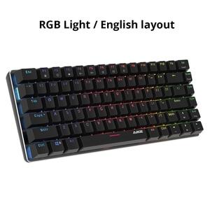 Image 3 - Ajazz AK33 82 Toetsen Mechanische Toetsenbord Russisch/Engels Layout Gaming Toetsenbord Rgb Backlight Blauw/Zwarte Schakelaar Bedraad Toetsenbord