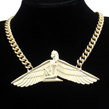 Indina Isis Ankh aile Chunky Colar chaîne collier pour les femmes MenVintage déesse égyptienne Wicca Pagan Witcher bijoux Choker(China)
