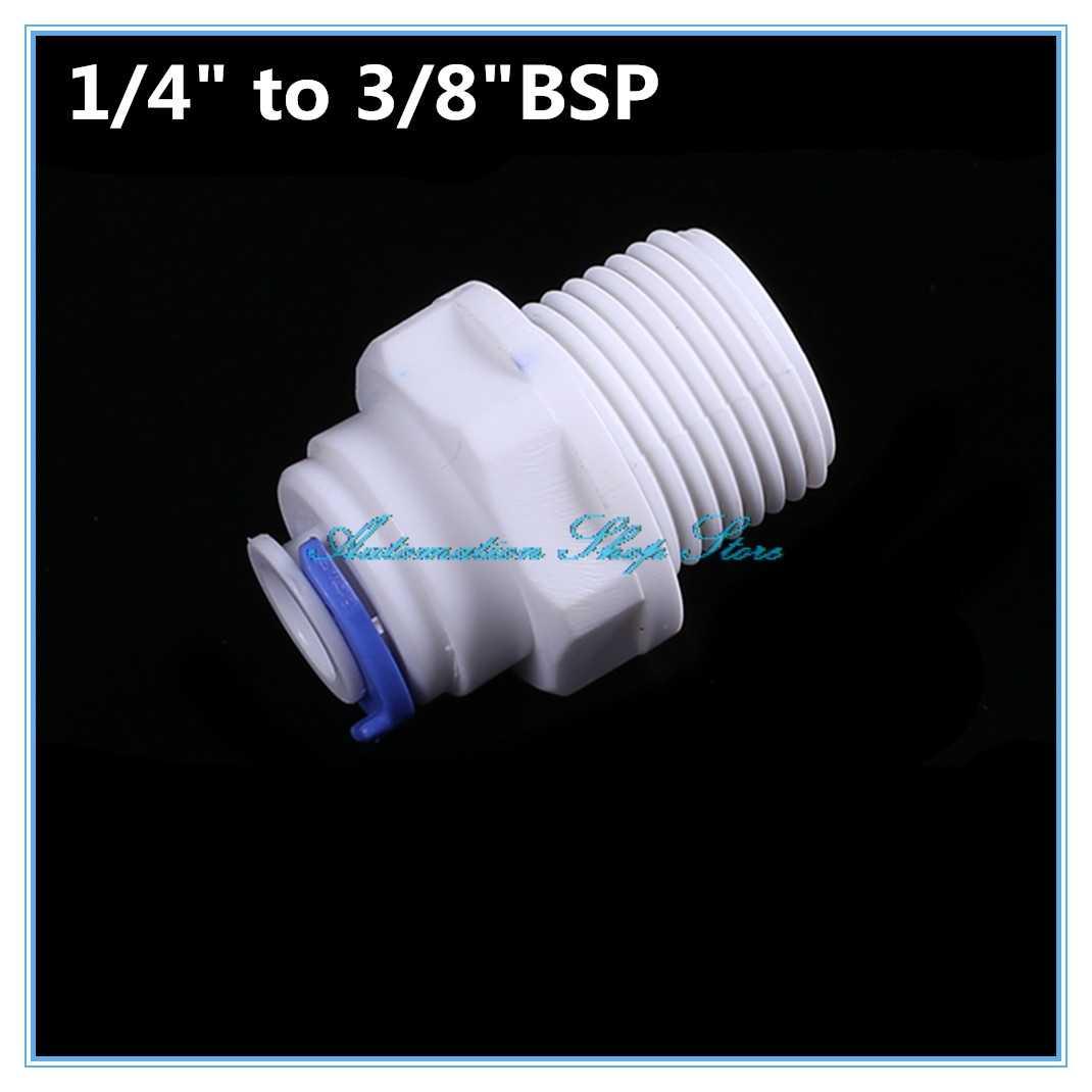 """1/4 """"OD 튜브 * 3/8"""" BSP 남성 빠른 연결 정수기 피팅 수족관 RO 워터 시스템"""