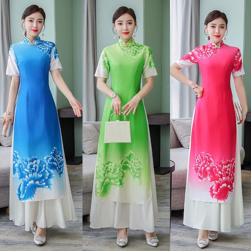 2020 Folk Style Vietnam Robes Chiffon Aodai Graceful Dress Stand Collar Elegant Traditional Clothing Floral Aodai